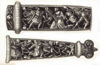 Graf engraving of Holbein's Dance of Death on daggers