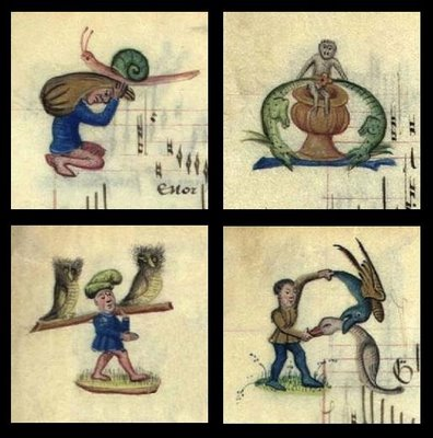Owls, snails, goose, dragons - illuminated manuscript miniatures