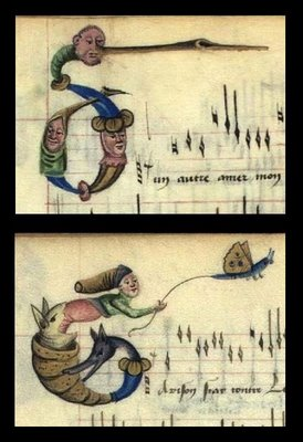 Man, beast, snail, flying butterfly caricature AND Human faces as lettrine