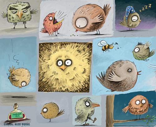 Plumíferos varios - bocetos