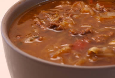 Ground Beef and Sauerkraut Low-Carb Soup found on KalynsKitchen.com