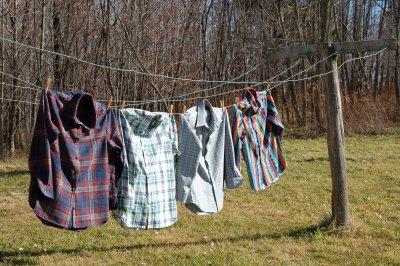 new shirts on the clothesline