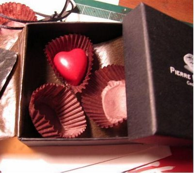 Pierre Marcolini's Raspberry ganache heart bonbon, my favorite...