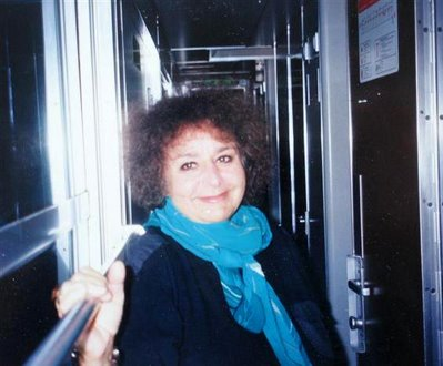 Barbara on the train from Venice to Paris