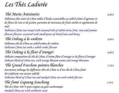 Laduree Tea Menu