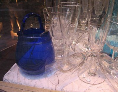 this cobalt blue glass is waiting for Barbara..