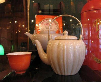 A contemporary craquel tea pot