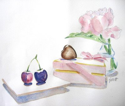 Cherries and French Pink Candy Box
