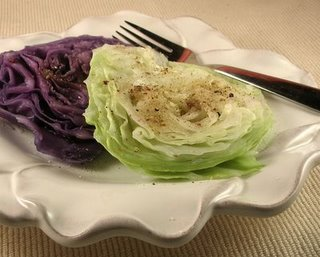 Simple wedges of steamed cabbage