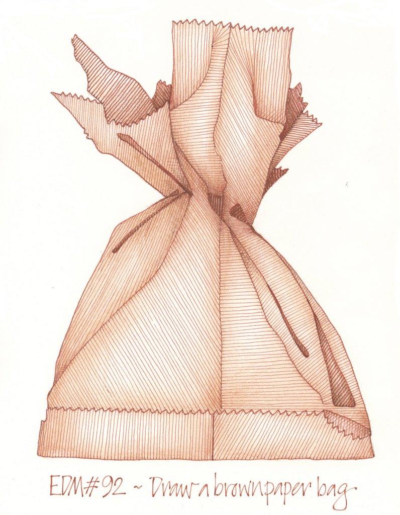 Paper bag sketch - Edm 92 Draw A Brown Paper Bag
