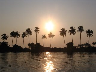 Telescopic view of Sunset at Vembanad Lake