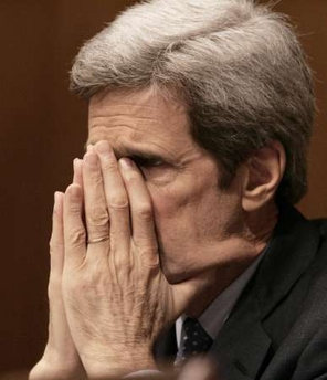 John Kerry blows his nose without a tissue!