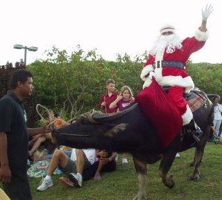 Santa riding a carabo