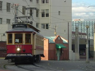 Vintage Trolley (1991 reproduction of old style Council Crest Trolley cars) in turnaround