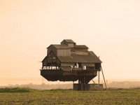 The cantilevered void house