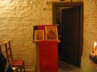 www.orthodoxes.net lutrin avec Icone de sainte Catherine d'Alexandrie et Icône de la Mere de Dieu par Pimen Sofronov