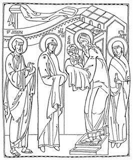 icone a colorier de la fete de la Sainte Rencontre ou Hypapante ou Chandeleur, 2 fevrier