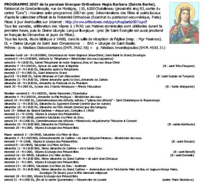 calendrier liturgique hagia barbara chatelineau 2007 FR