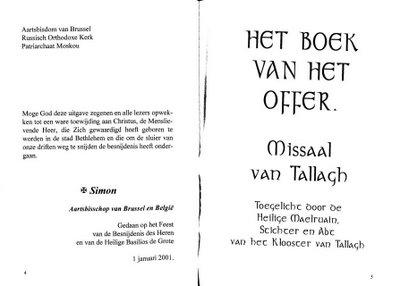 missel celtique en neerlandais, publication du monastere de Pervijze, patriarcat de Moscou