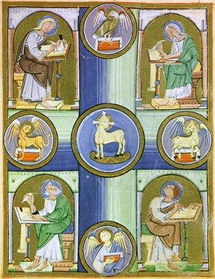 enluminure de l'Evangéliaire de Reichenau, 11ème siècle, le Christ ou l'Agneau, entouré des 4 Evangélistes