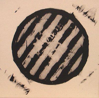 Gerald Ferguson, One Drain Covers, 2006, enamel on canvas, 18 x 18, courtesy Wynick/Tuck Gallery