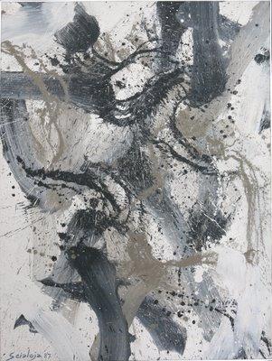 Quadro (vinilico su tela) di Toti Scialoja del 1987 intitolato Falcone (dimensione 150x112) numero di archivio 048707