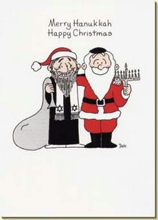 "Picture: Greeting card, caption ""Merry Hanukkah, Happy Christmas"", drawing of a Jew with Santa's hat embracing Santa holding a hanukkiyah"