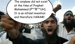 "Picture: Sheikh Al-Outragi says, ""The airplane did not exist at the time of Prophet Mohammad (P[eanut]B[utter]UH). It is an infidel invention and therefore HARAM!"""