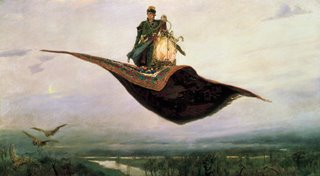 Picture: Painting of a man on a flying carpet