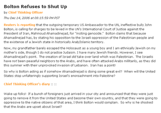 "Screenshot: Diary ""Bolton Refuses to Shut Up"" on Daily Kos, December 14, 2006"