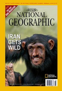 Picture: National Geographic cover with Ahmadinejad's face photoshopped on top of an ape