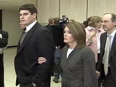 Reade Seligmann and his mother Kathy Seligmann, enter a Durham County Courthouse