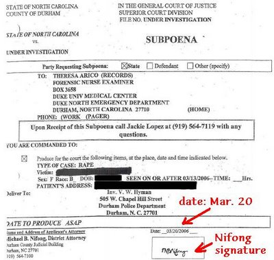Mike Nifong signed a March 20th Subpoena