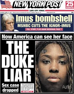 NY Post frontpage April 12, 2006: The Duke Liar