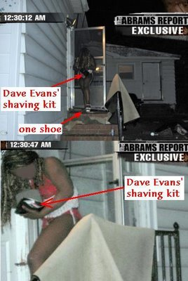 Crystal Gail Mangum outside Duke house with Dave Evan's shaving kit
