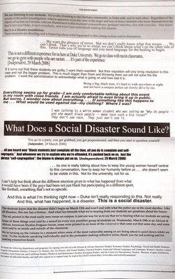 photo of 'listening statement' ad. in Duke Chronicle, April 6th, 2006