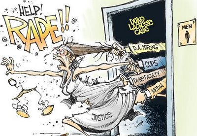 John Cole cartoon - A rape at Duke