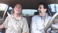 An extraordinarily calm driving instructor and Borat who wants to make sexytime