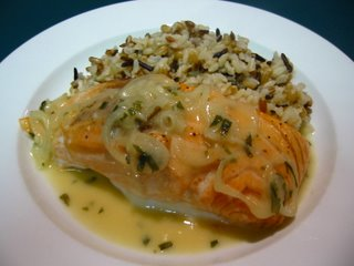 Salmon with White Wine Mustard Sauce