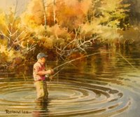 Painting of fisherman fly fishing