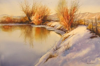 Winter Reflections 14 x 21 transparent watercolor painting by Roland Lee