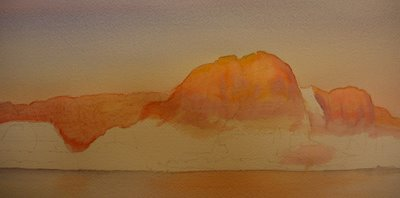 Photo 2 watercolor demonstration Roland Lee watercolor painting of Wahweap Bay at Lake Powell