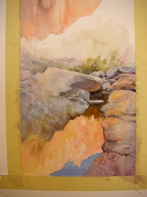 Photo 2 step by step watercolor demonstration by Roland Lee of painting of Zion Canyon