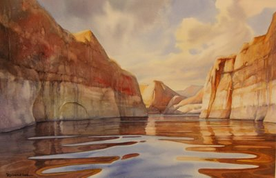 Quiet Canyon painting at Lake Powell by Roland Lee