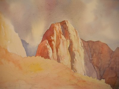 Demonstration Roland Lee painting of Zion National Park,5 minutes of Fame, 12 x 29