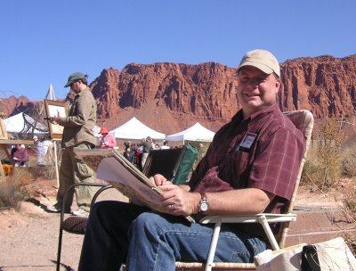 Roland Lee painting on location at the 2007 Kayenta Art Festival
