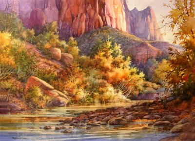 Painting of Virgin River in Zion Canyon by Roland Lee