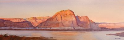 Roland Lee watercolor painting of Wahweap Bay at Lake Powell