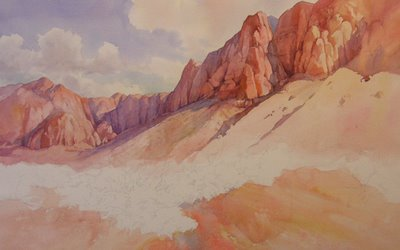 Roland Lee watercolor painting of Kayenta Utah