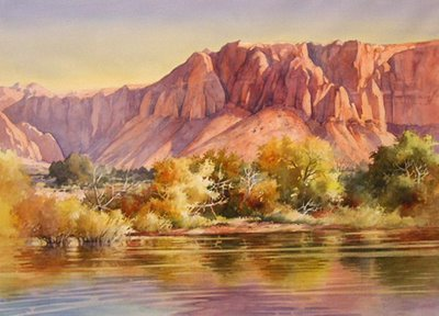 Roland Lee watercolor painting of Ivins Reservoir Kayenta